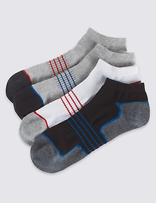 4 Pairs of Cool & Fresh™ Trainer Liner Socks, BLACK/GREY, catlanding