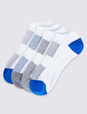 4 Pairs of Freshfeet™ Trainer Liner Socks, GREY/WHITE, catlanding