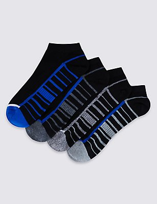 4 Pairs of Cool & Fresh™ Trainer Liner Socks, BLUE/BLACK, catlanding