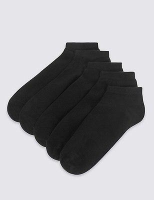 5 Pairs of Trainer Liner Socks, BLACK, catlanding