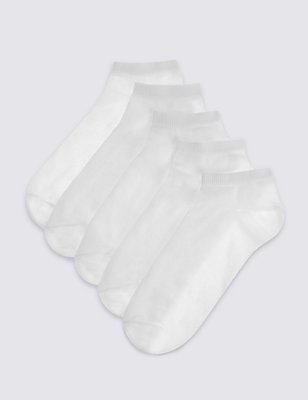 5 Pairs of Trainer Liner Socks, WHITE, catlanding