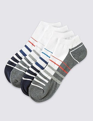 4 Pairs of Cotton Rich Cool & Fresh™ Sports Trainer Liners, WHITE, catlanding