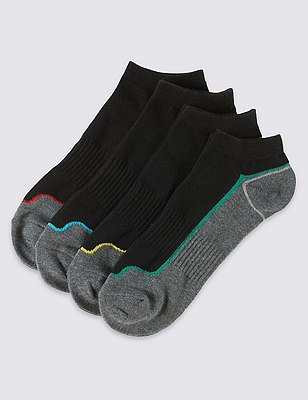 4 Pairs of Cotton Rich Cool & Fresh™ Sports Trainer Liners, BLACK, catlanding