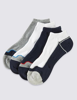 4 Pairs of Cotton Rich Cool & Fresh™ Sports Trainer Liners, MULTI, catlanding