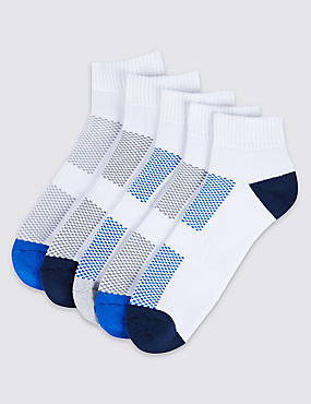 5 Pairs of Sole Heel & Toe Socks, BLUE/WHITE, catlanding