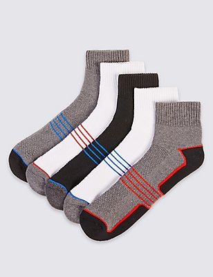 5 Pairs of Cool & Fresh™ Cotton Rich Sports Socks, BLACK/GREY, catlanding