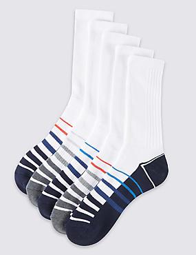5 Pairs of Cotton Rich Full Length Sports Socks, WHITE, catlanding
