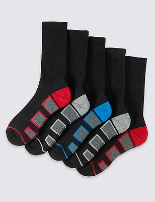 5 Pairs of Cotton Rich Cool & Fresh™ Full Length Sports Socks, BLACK, catlanding