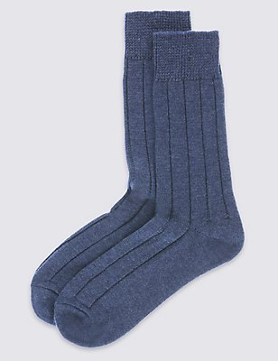 2 Pairs of Wool Blend Short Thermal Socks, DENIM, catlanding