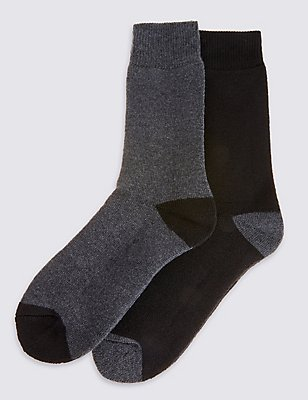 2 Pairs Of Ultraheat thermal Socks, GREY MIX, catlanding