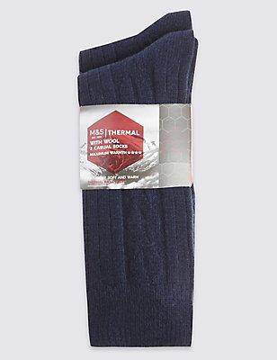 2 Pair Pack Wool Rich Thermal Socks, BLUE MIX, catlanding