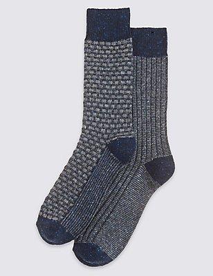 2 Pairs of Thermal Texture Design Socks, BLUE MIX, catlanding