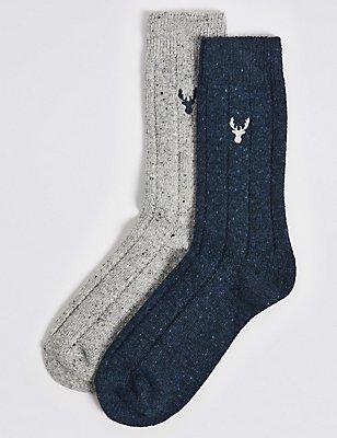 2 Pairs of Thermal Wool Embroidered Socks, NAVY/GREY, catlanding