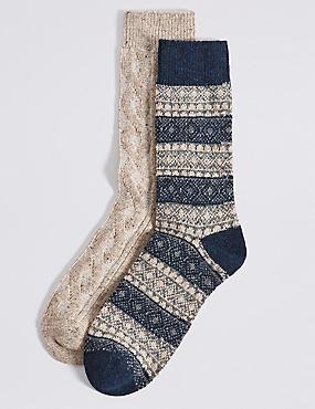 2paires de chaussettes en laine mélangée à motif jacquard, AVOINE ASSORTI, catlanding