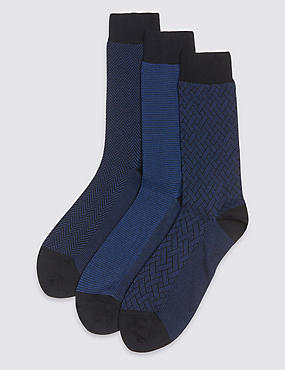 3 Pairs of Luxury Cotton Socks, BLUE/BLACK, catlanding