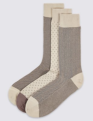 3 Pairs of Cotton Rich Socks, BEIGE, catlanding