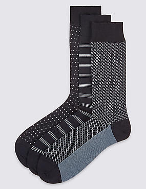 3 Pairs of Cotton Rich Design Socks, DENIM MIX, catlanding