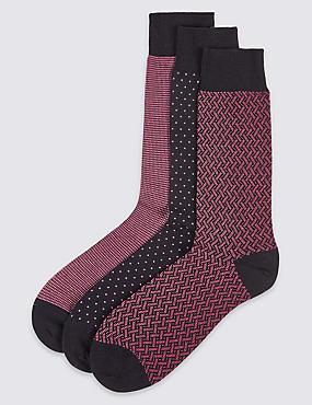 3paires de chaussettes en coton, ROSE ASSORTI, catlanding