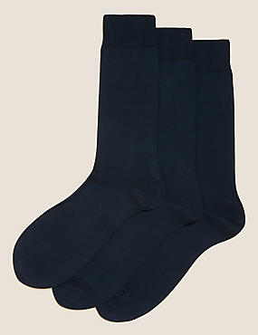 3 Pairs Of Luxury Egyptian Cotton Rich Socks, NAVY, catlanding