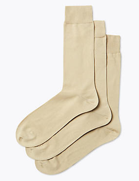 3 Pairs Of Luxury Egyptian Cotton Rich Socks, BEIGE, catlanding