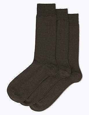 3 Pairs Of Luxury Egyptian Cotton Rich Socks, BROWN, catlanding