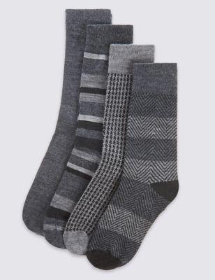 Носки из овечьей шерсти в серой цветовой гамме (4 пары)