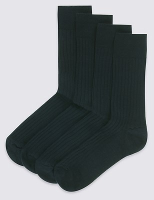 4 Pairs of Lambswool Blend Self Striped Socks, NAVY, catlanding