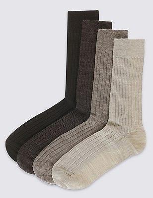 4 Pairs of Lambswool Blend Self Striped Socks, BROWN MIX, catlanding