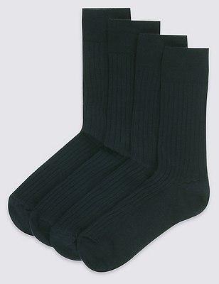 4 Pairs of Lambswool Blend Self Striped Socks, BLACK, catlanding