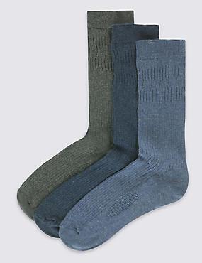 3 Pairs of Freshfeet™ Non Elastic Socks, BLUE/GREY, catlanding