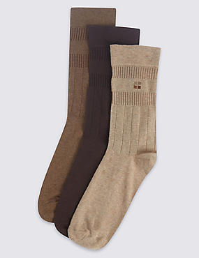 3 Pairs of Cotton Rich Non Elastic Socks, BROWN MIX, catlanding