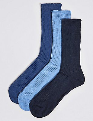 3 Pairs Of Non Elastic Chunky Socks, DENIM MIX, catlanding