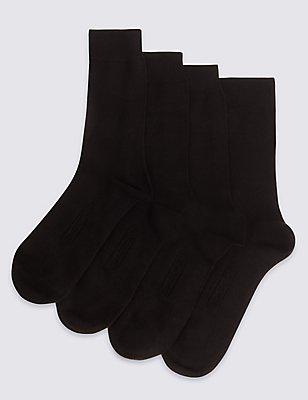 Lot de 4paires de chaussettes en fibre de bambou, NOIR, catlanding