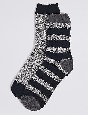 2 Pairs of Assorted Bed Socks, NAVY MIX, catlanding