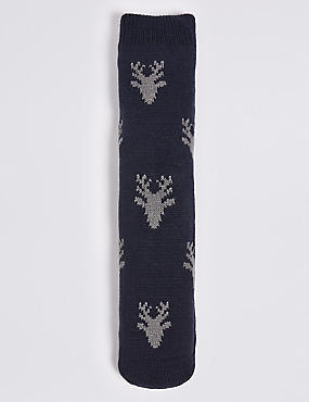 Stag Head Slipper Socks, NAVY MIX, catlanding