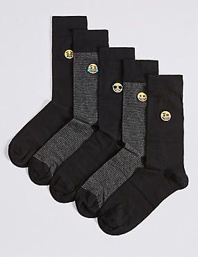 5 Pairs of Emoji Embroidered Socks, BLACK MIX, catlanding