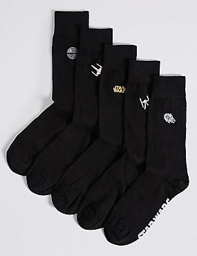 5 Pairs of Cotton Rich Star Wars™ Embroidered Socks, BLACK MIX, catlanding
