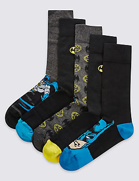 5 Pairs of Cotton Rich Batman™ with Embroidered Socks, BLACK MIX, catlanding