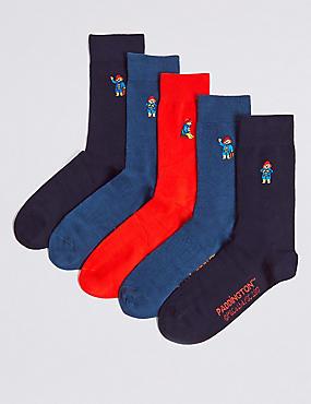 Paddington™ 5 Pairs of Cotton Rich Socks, BLUE MIX, catlanding
