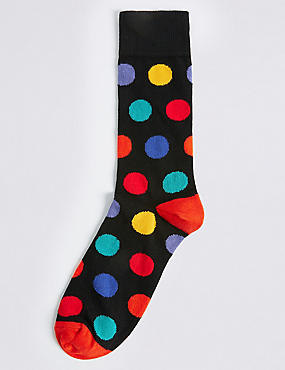 Cotton Rich Spotted Socks, , catlanding