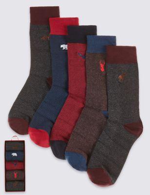Хлопковые носки в тонкую полоску с вышивкой в ассортименте (5 пар)