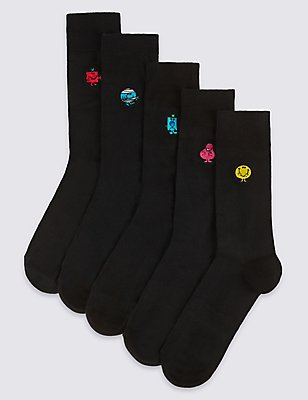5 Pairs of Cotton Rich Embroidered Socks, BLACK MIX, catlanding