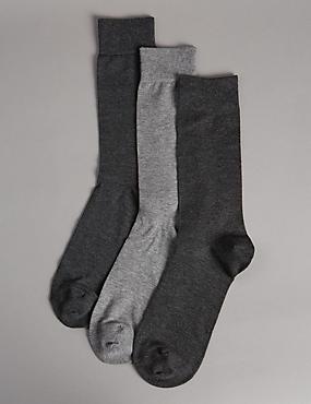 3 pares de calcetines con modal, CARBÓN, catlanding