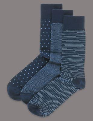 Носки с добавлением модала и мелким принтом (3 пары)