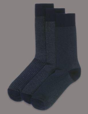 Носки с добавлением модала и мелким рисунком (3 пары)