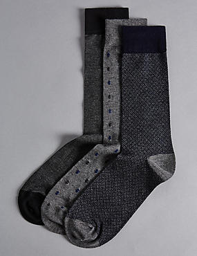 3 Pairs of Modal Blend Socks, GREY MIX, catlanding
