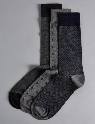 Носки из модала и люксового хлопка с принтом в ассортименте (3 пары) Autograph T109831