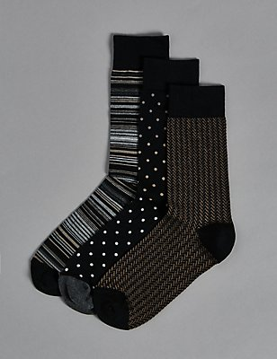 3 Pairs of Modal Pima Blend Socks, BLACK/BEIGE, catlanding