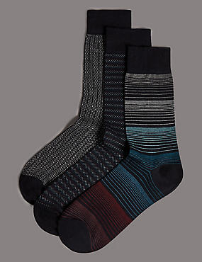 3 Pairs of Modal Pima Blend Socks, TEAL MIX, catlanding