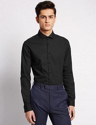 Super Slim Fit Cutaway Collar Shirt, BLACK, catlanding